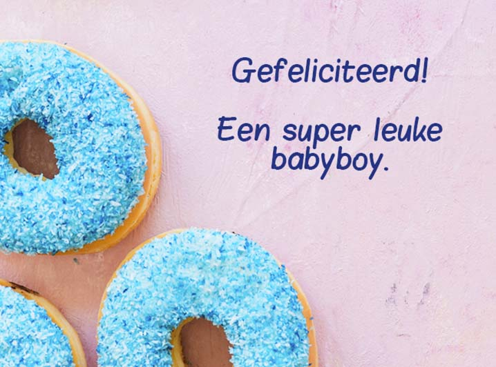 Kaart toevoegen - Gefeliciteerd Baby jongen donut kaart - JJ Donuts