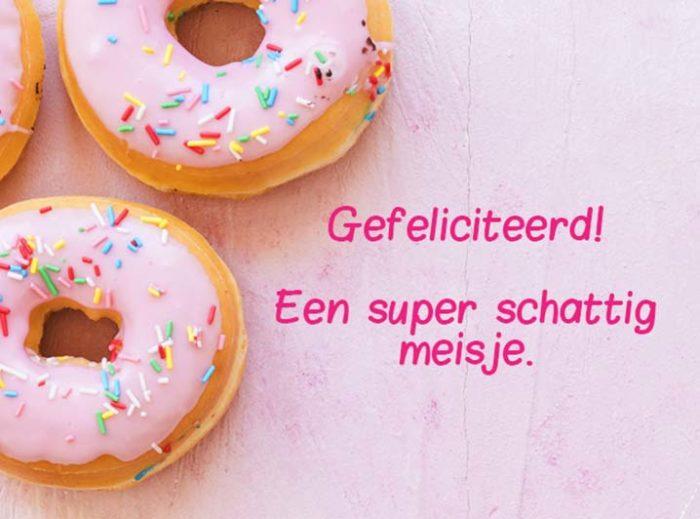 Kaart toevoegen - Gefeliciteerd Baby meisje donut kaart - JJ Donuts
