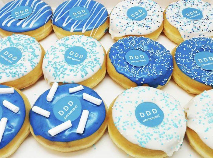 Gepersonaliseerde donuts voorbeeld DDD personeel - JJ Donuts