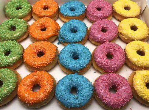 Uni color mini donut box 2019 - zakelijke donuts - JJ Donuts