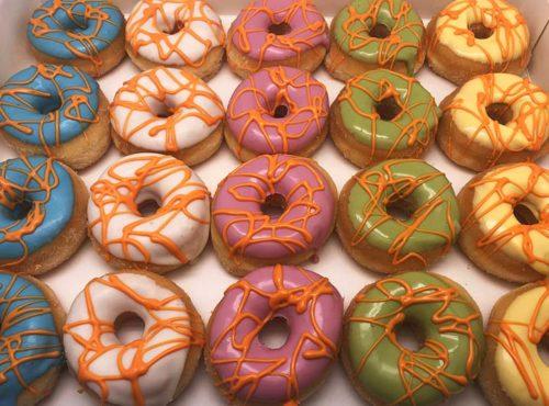 Go Crazy Mini Donut box oranje lijnen - JJ Donuts
