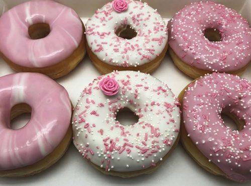 Roze Roos Bruiloft Donut box - JJ Donuts
