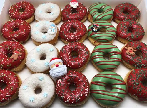 Ho Ho Ho Mini Donut box met kerstman ring - JJ Donuts