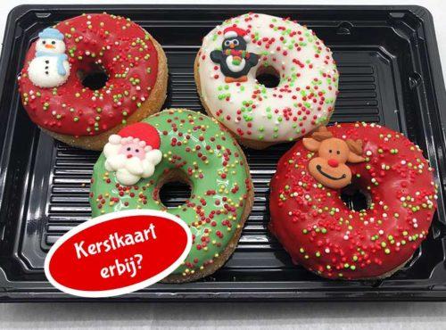 Kerst 4st Mini Donut box met kaart - JJ Donuts
