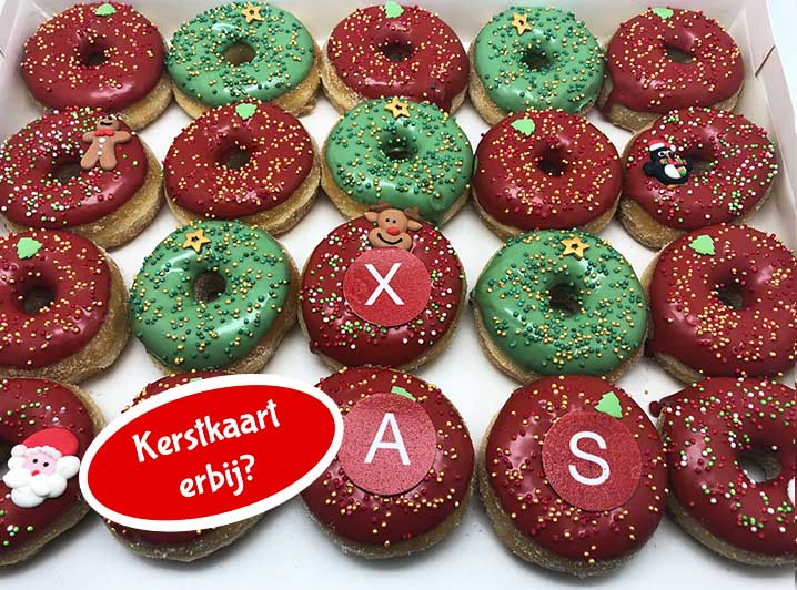 Xmas Mini Donut box met logo - JJ Donuts