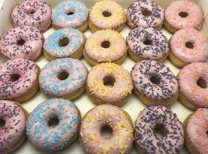 Pastel Galerij Mini Donut box roze blauw - JJ Donuts