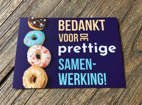 JJ Donuts - donut wenskaarten - wenskaart bedankt voor de samenwerking