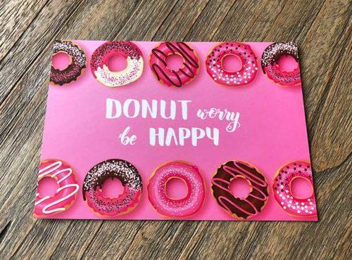 JJ Donuts - donut wenskaarten - wenskaart donut worry be happy