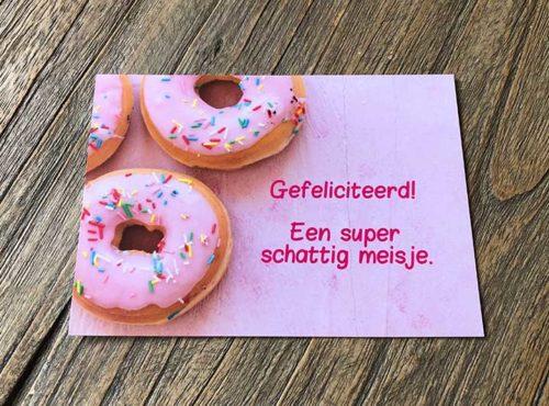 JJ Donuts - donut wenskaarten - wenskaart gefeliciteerd met een meisje