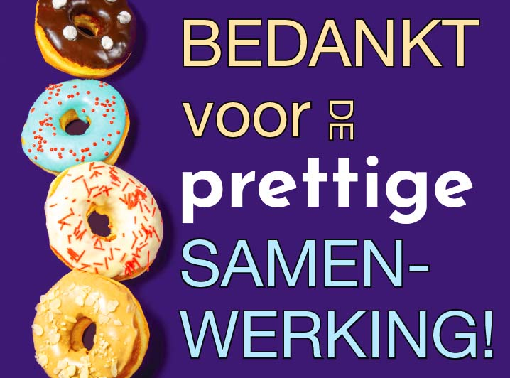 Wenskaart Bedankt Voor De Prettige Samenwerking Jj Donuts