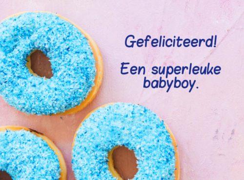 Wenskaart Gefeliciteerd Babyboy - JJ Donuts