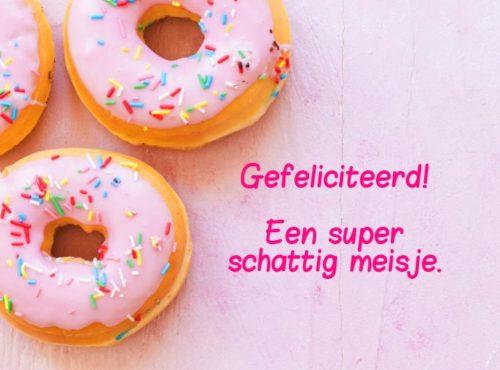 Wenskaart Gefeliciteerd Meisje - JJ Donuts