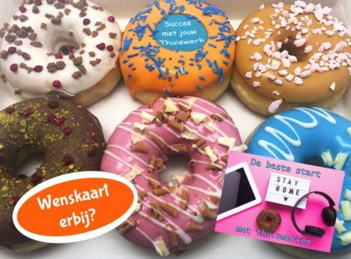 Thuiswerken Donut box met wenskaart - JJ Donuts