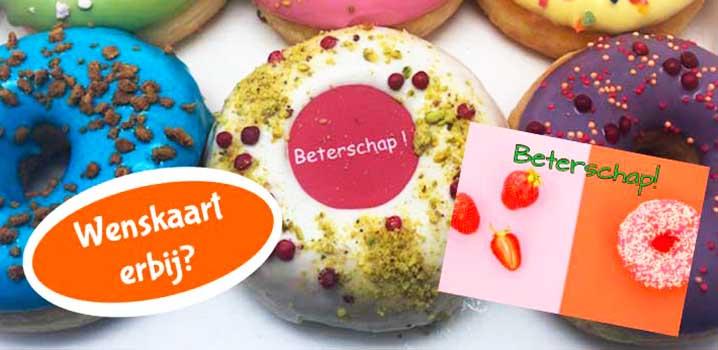 Donutbox met kaartje - donut met een wenskaart - JJ Donuts