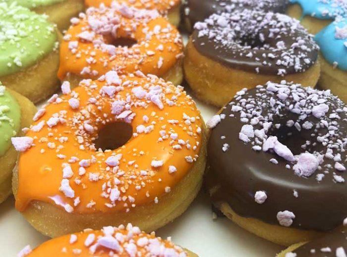 Crunchy Meringe Crumble Mini Donut box closeup - JJ Donuts