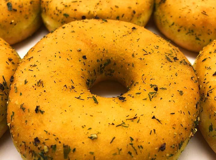 Vegan Green Herbs Donut box closeup - JJ Donuts