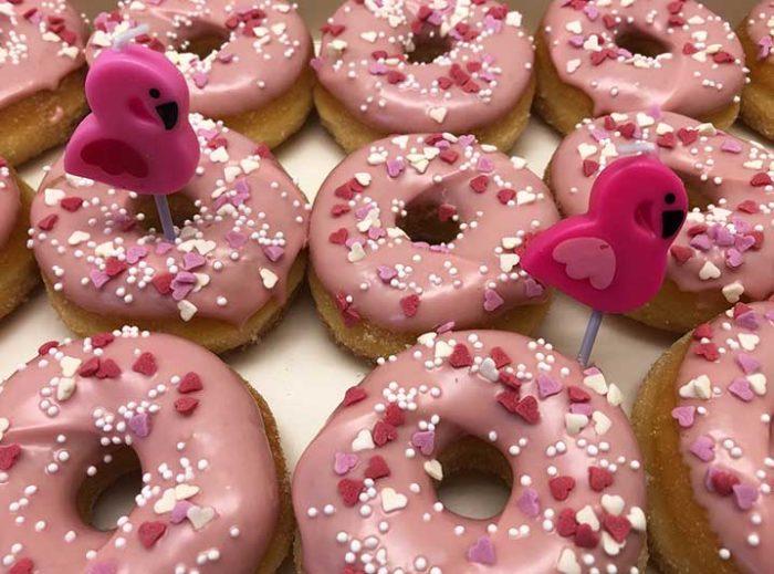 Flamingo Mini Donut box closeup - JJ Donuts