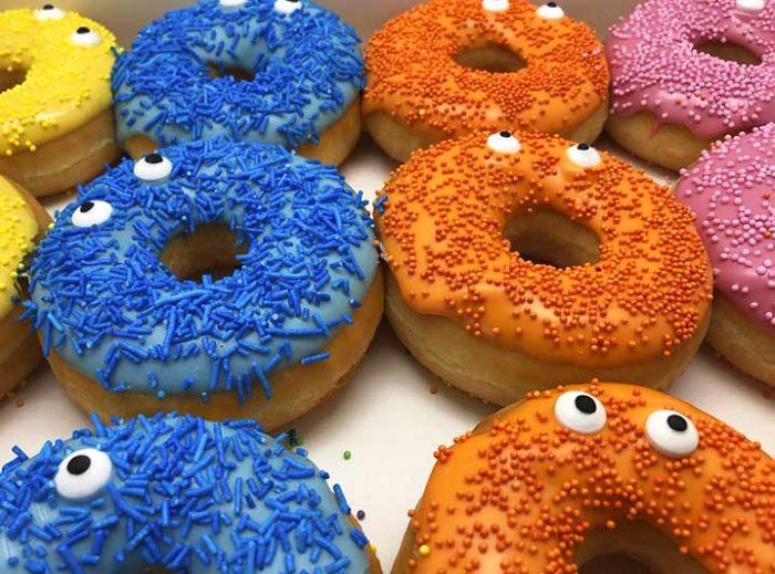Color Faces Donut box closeup - JJ Donuts