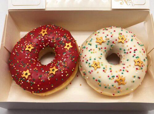 Gold Christmas Donut box - JJ Donuts