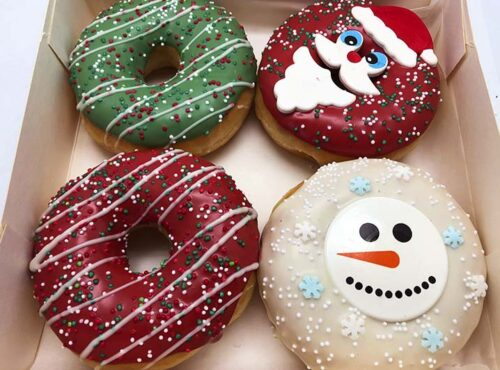 Kerstman vs Sneeuwpop Donut box - JJ Donuts