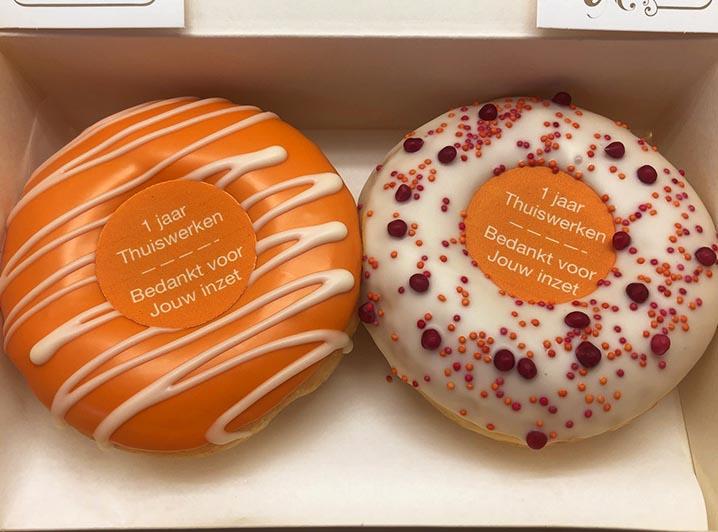 Bedankt Voor Je Inzet Donut box oranje - JJ Donuts
